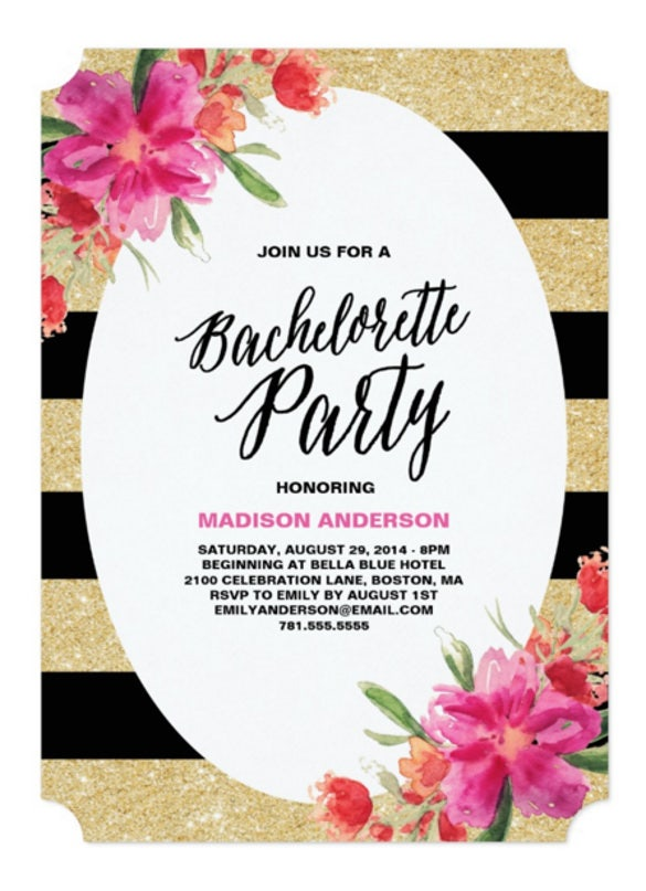 Floral Glam Bachelorette Party Invitation
