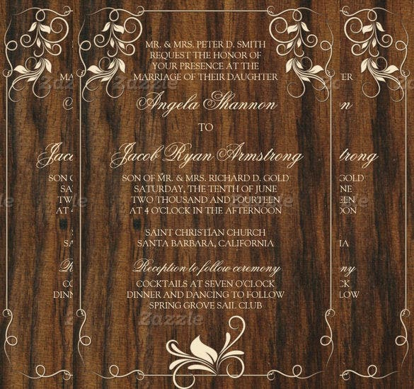 carved wood look ivory floral wedding