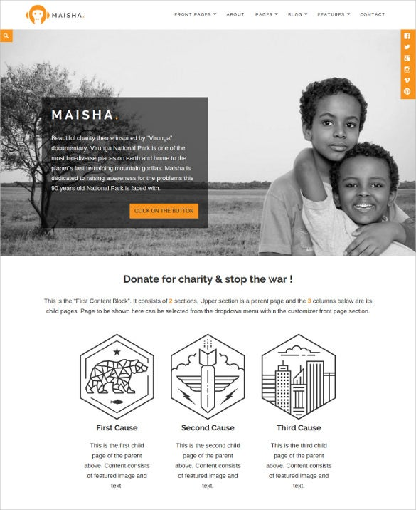 beautiful children charity php wordpress theme