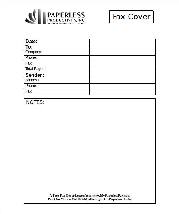 printable professional business fax cover letter form free