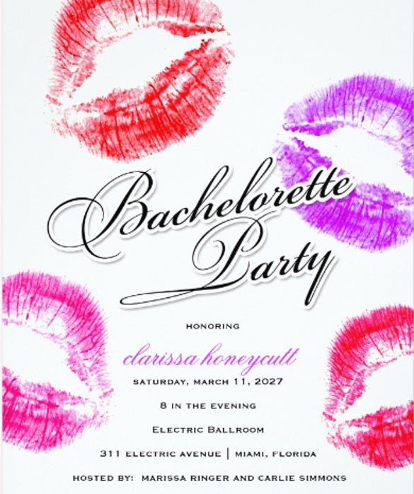 bachelorette party colorful kisses invitation card