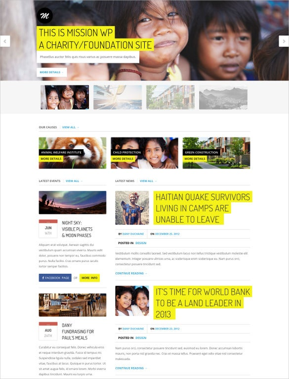 modern charity php wordpress theme