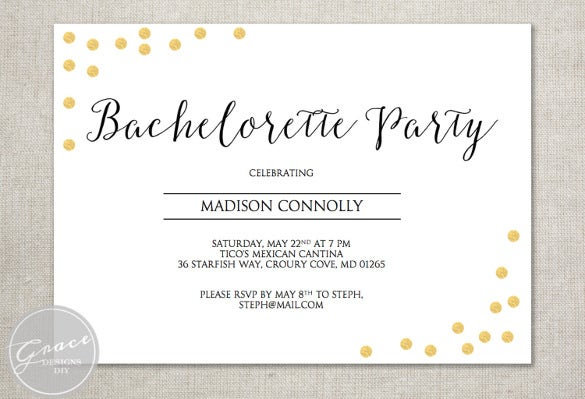 purple bachelorette party invitation gold faux foil