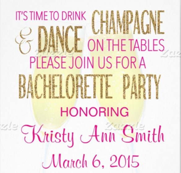 white bachelorette or hens party invitation
