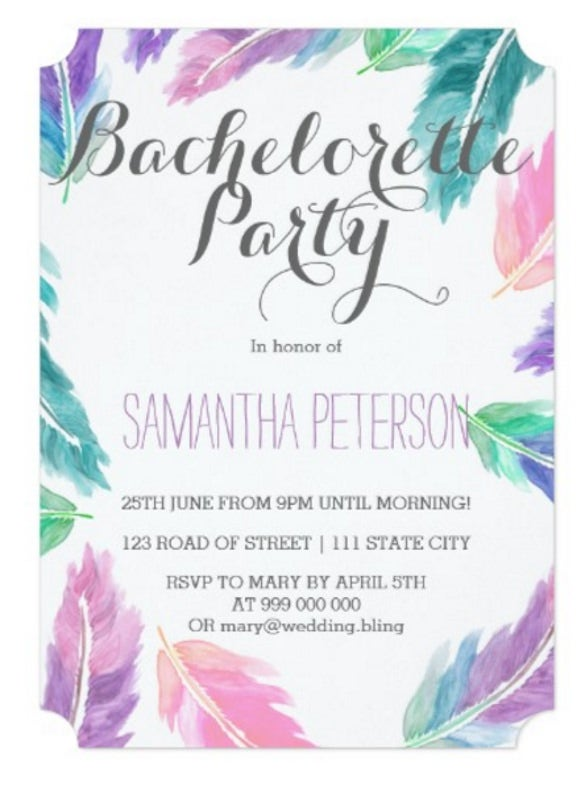 30 bachelorette invitation templates free sample example format painted watercolor feathers bachelorette party stopboris Gallery