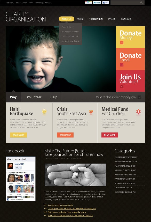 donating charity flash cms template
