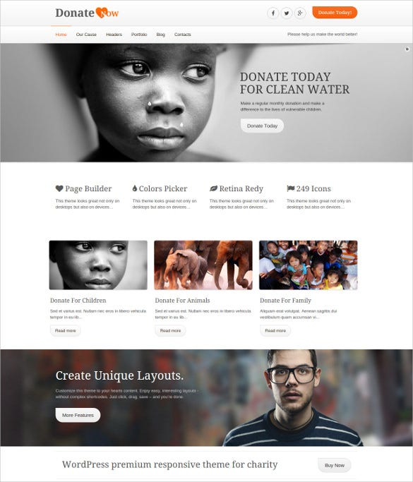 create unique charity php wordpress theme