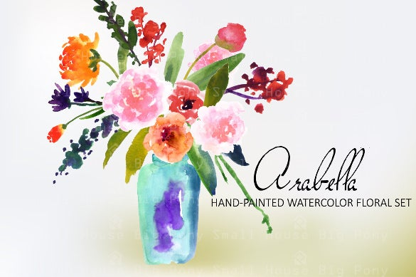 arabella watercolor clip art set
