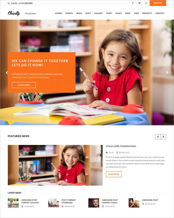 education child charity php wordpress template