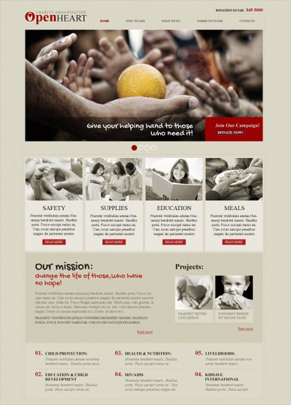 responsive child charity website template