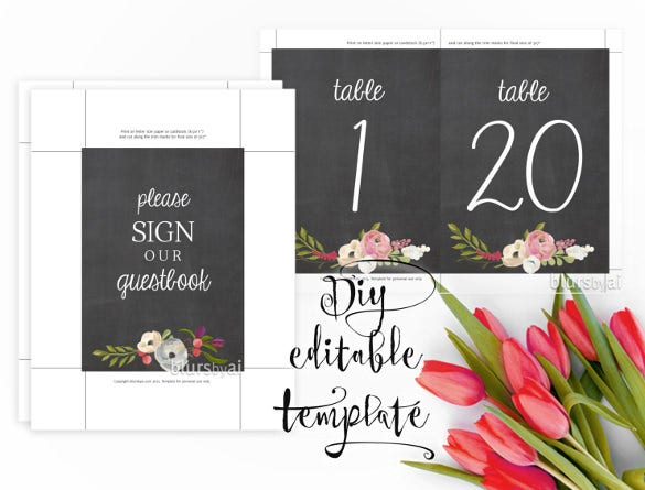 chalkboard table numbers template1