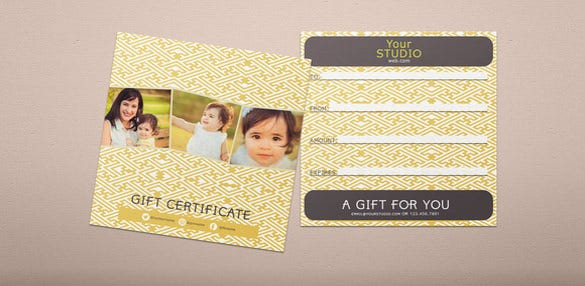 photography gift certificate example psd template download