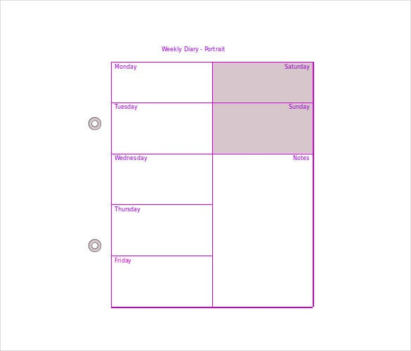 weekly diary template