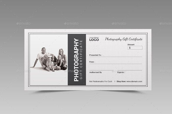 Photography Gift Certificate Templates  Free Sample Example