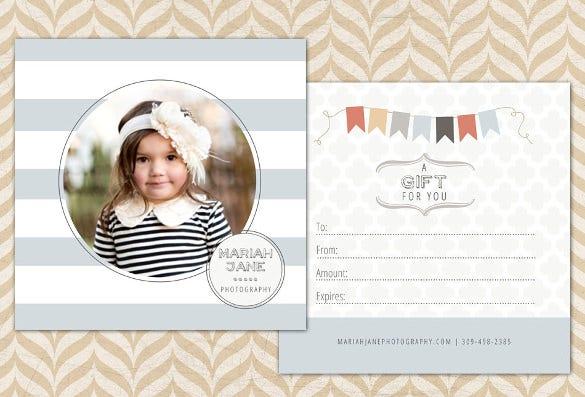 photography gift certificate of baby sample template download