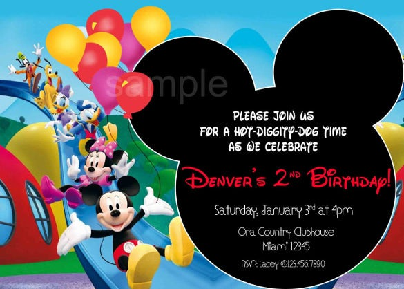 Mickey Mouse Birthday Invitation Template 15 Free PSD Vector EPS
