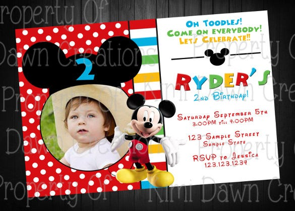 mickey mouse birthday party invitation digital delivery custom1