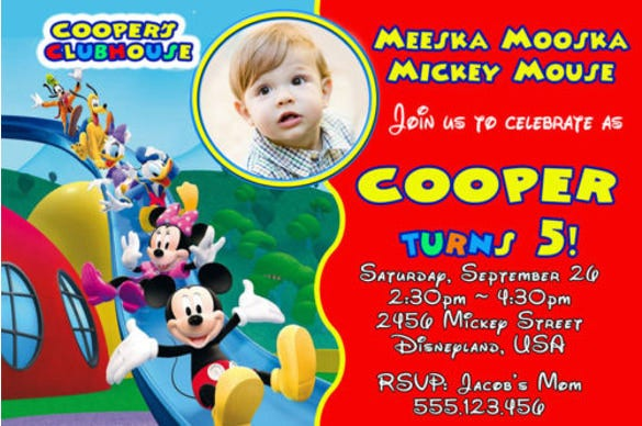 cute mickey mouse clubhouse birthday party invitation with photo1