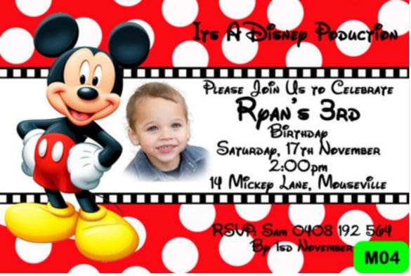 Mickey Mouse Birthday Invitation Template 15 Free PSD Vector