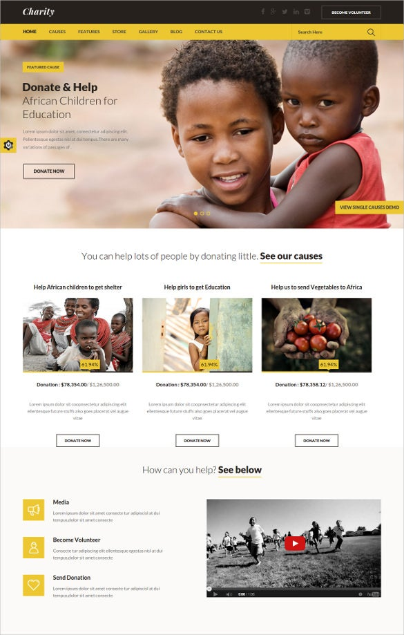 non profit charity website wordpress theme
