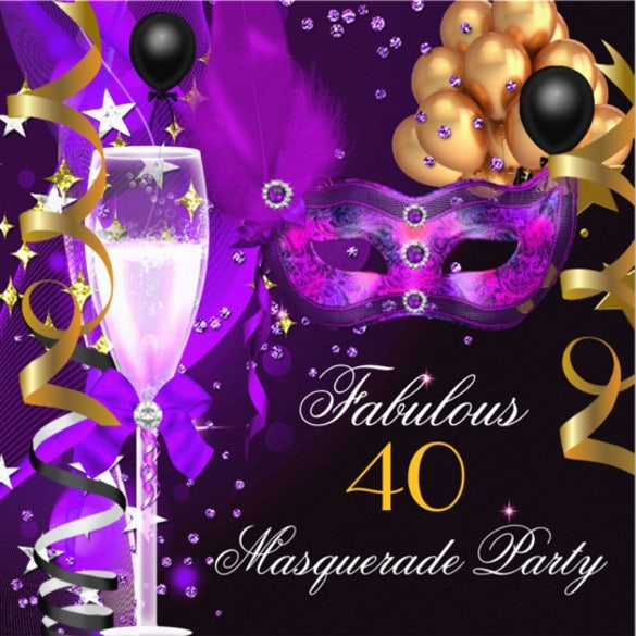 purple gold black masquerade party invitation1