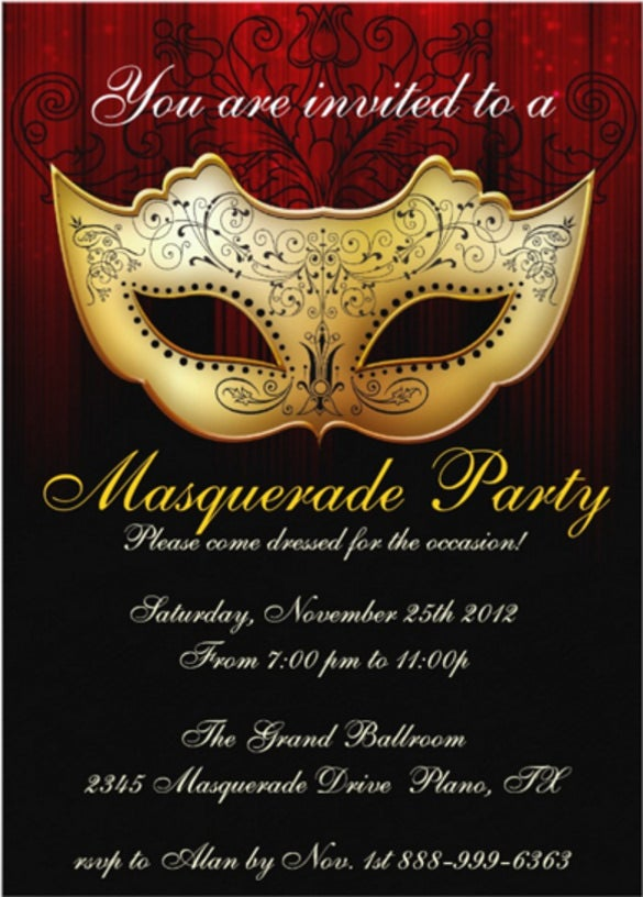 masquerade invitation template 18  Masquerade Invitation Templates – Free Sample, Example, Format ...