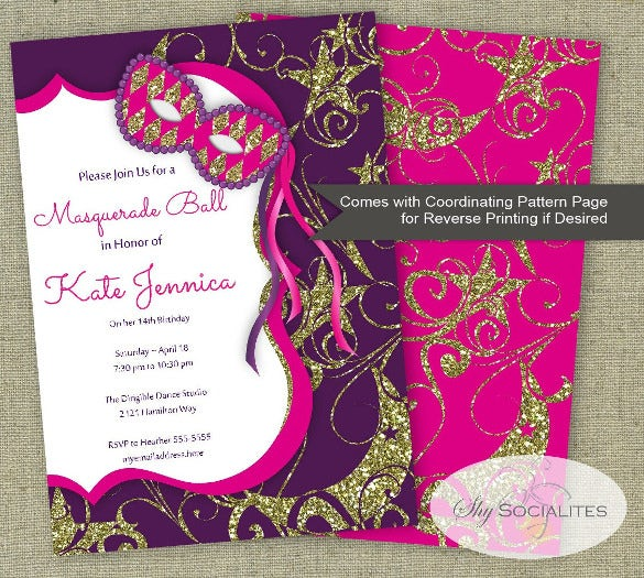 masquerade ball invitation mardi gras party