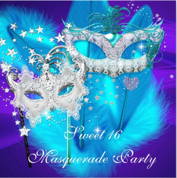 masquerade sweet 16 purple blue mask invitation