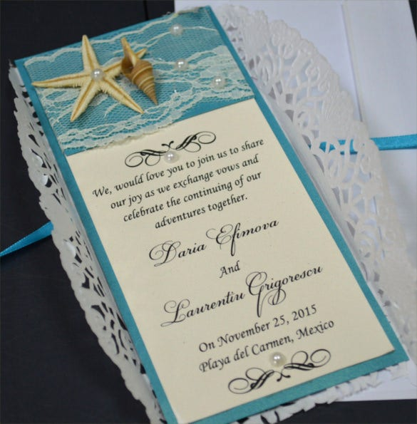 Lace Beach Wedding Invitation PSD Format Template
