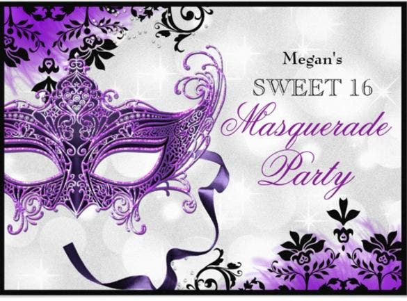 masquerade sweet 16 paper invitation