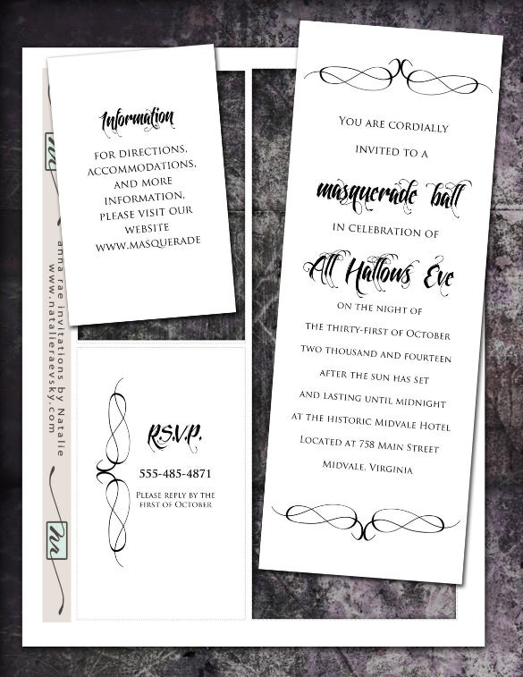 18 Masquerade Invitation Templates Free Sample Example Format