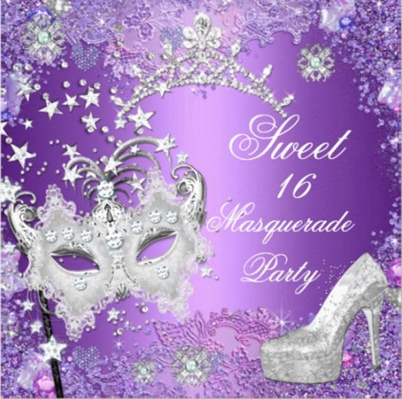 purple sweet sixteen 16 masquerade party invitation