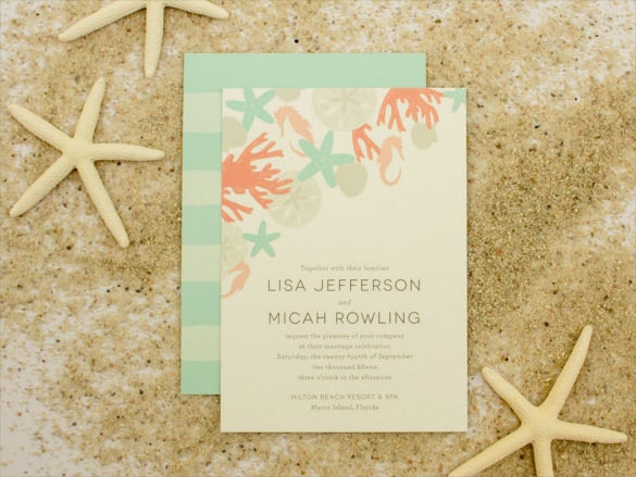 sea shells beach wedding invitation psd format template
