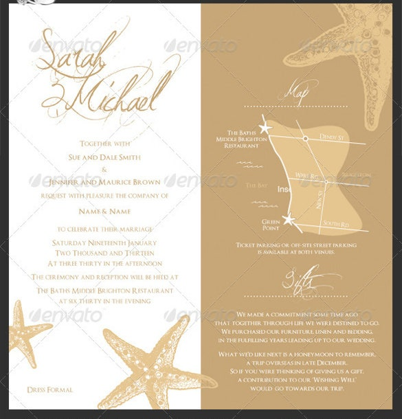 star beach wedding invitation psd format template