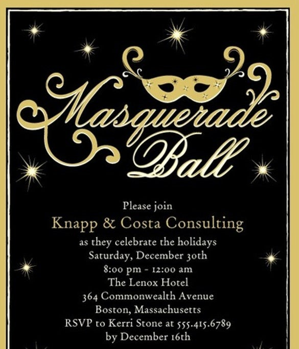 SPARKLING MASQUERADE DIJON Party Invitation