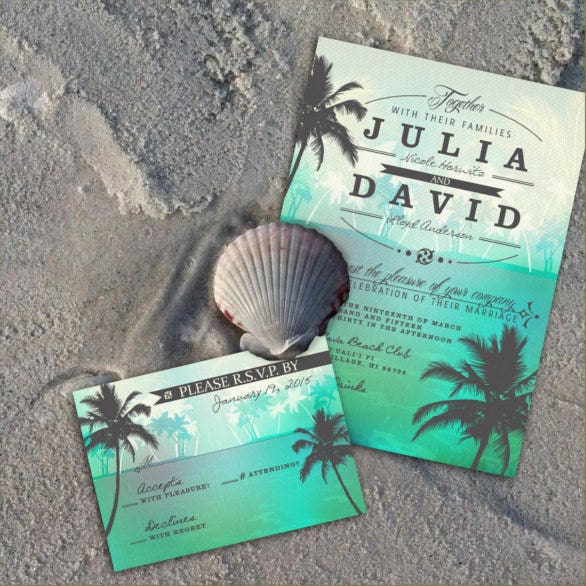 26 Beach Wedding Invitation Templates Psd Ai Word Free