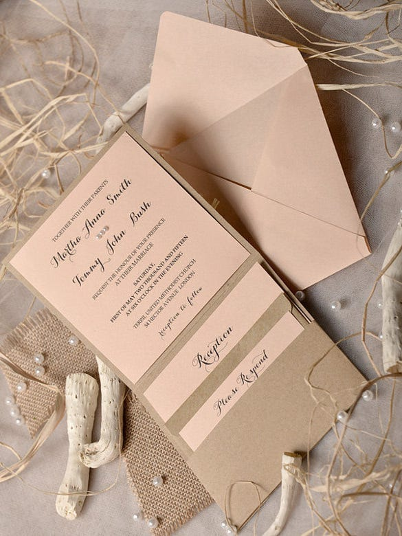peach beach wedding invitation psd format template