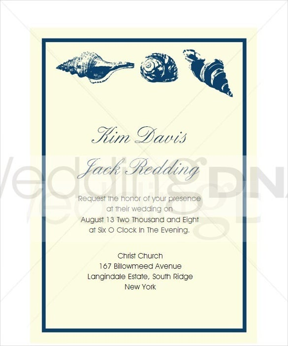 Seashell Beach Wedding Invitation Template