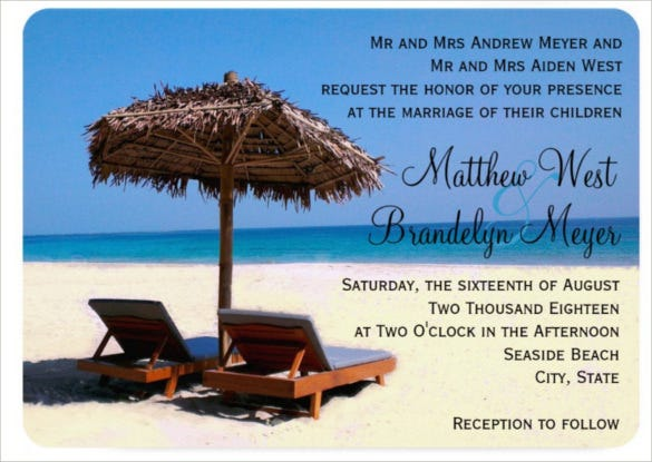 beach chairs wedding invitation psd format template