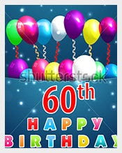 60-year-Happy-Birthday-Card-with-balloons-and-ribbons,-60th-birthday