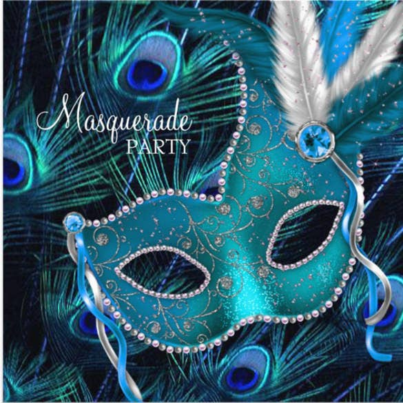 blue peacock mask masquerade party invitation
