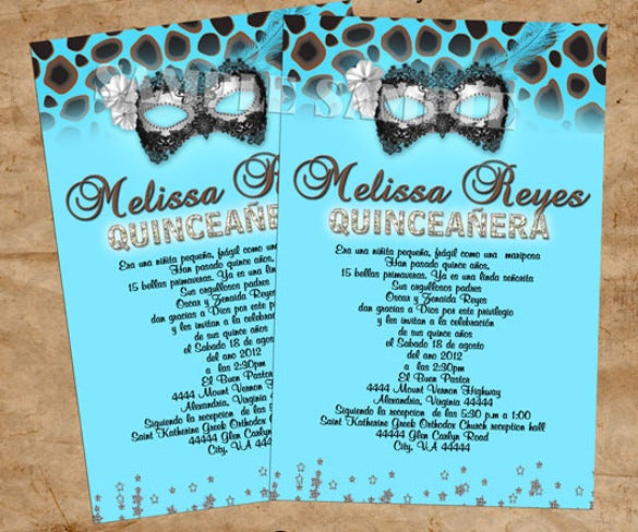 leopard mask invitations birthday party quinceanera1
