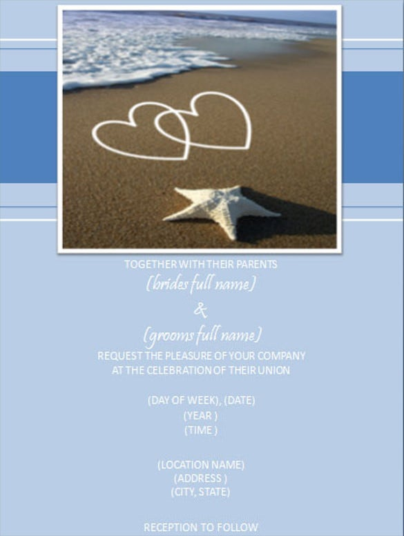 Beach Wedding Invitation Templates Free Sample Example Format - Wedding reception invitation templates free download