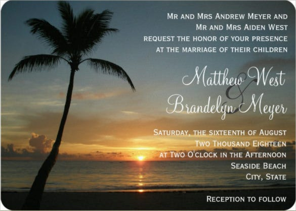 sunset beach wedding invitation psd format template