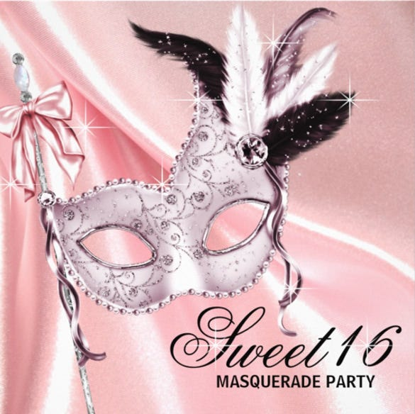 pink black 16 masquerade party invitation