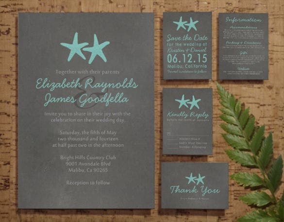 starfish beach wedding invitation psd format template