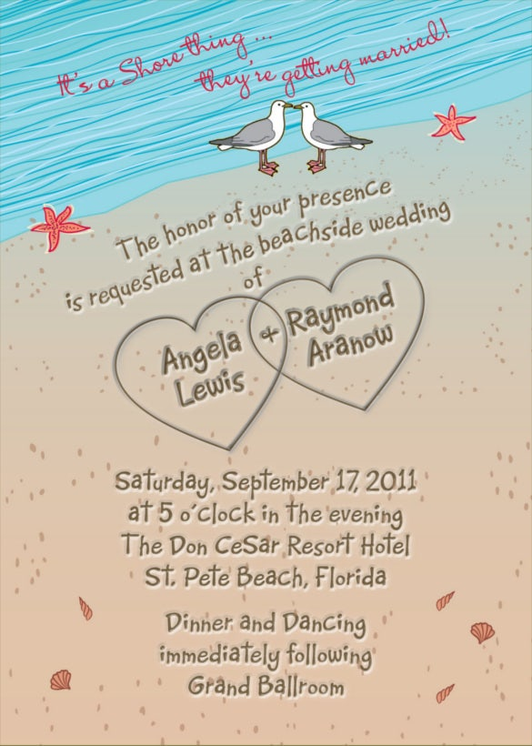 Beach Heart Wedding Invitation PPT Format Template Free Download  Free Wedding Invitation Card Templates
