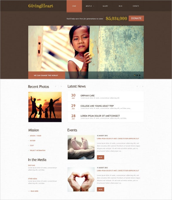 children brown charity website wordpress theme