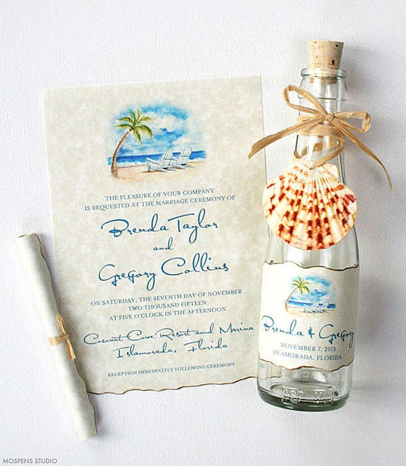 bottle beach wedding invitation psd format template