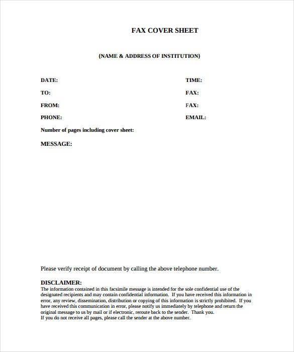 Medical Fax Cover Sheet   Free Word Pdf Documents Download